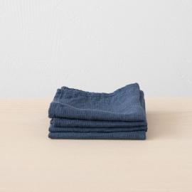 Set mit 4 Indigo Leinen Handtüchern Wafer