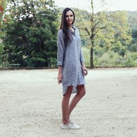 Silver Melange Hemd Kleid Leinen Paula