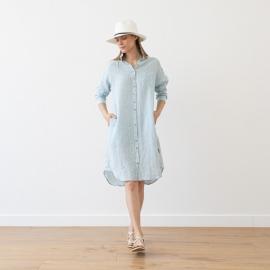 Blue Melange Hemd Kleid Leinen Paula
