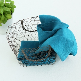 Set von 2 Stein Gewaschen Leinen Tee Handtücher Marine Blau
