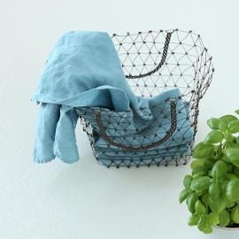 Set von 2 Stein Gewaschen Leinen Tee Handtücher Stone Blau