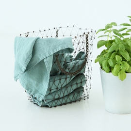 Set von 2 Stein Gewaschen Leinen Tee Handtücher Spa Grün