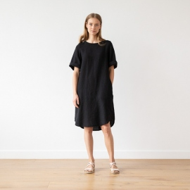 Schwarzes Leinen Kleid Luisa