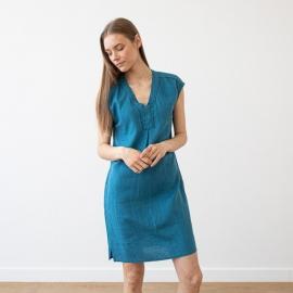 Indigo Leinen Kleid Emily