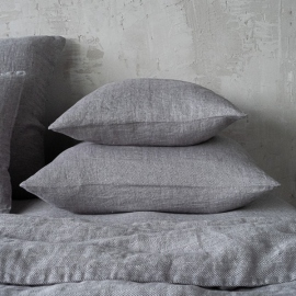 Grau Leinen Kissenbezüge Stone Washed Herringbone
