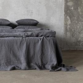 Grau Leinen Bettlaken Stone Washed
