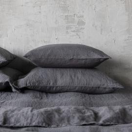 Vorgewaschener Grau Leinen-Kopfkissenbezug