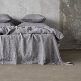 Grau Leinen Bettlaken Stone Washed Herringbone