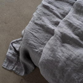 Grau Leinen Bettlaken Stone Washed Herringbone