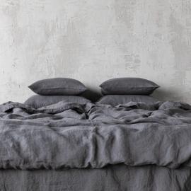 Grau Leinen Bettbezüge Stone Washed