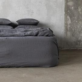 Grau Leinen Bettlaken mit Gummizug Stone Washed