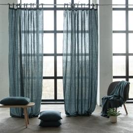Stone Washed Leinenvorhang mit Schlaufen Balsam Green