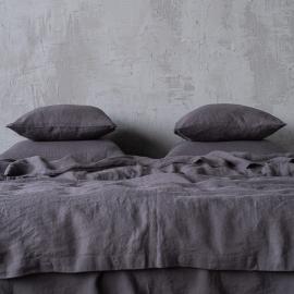 Grau Leinen Bettset Stone Washed ...