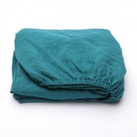 Sapphire Leinen Bettlaken mit Gummizug Stone Washed