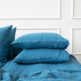 Vorgewaschener Sea Blue Leinen-Kopfkissenbezug