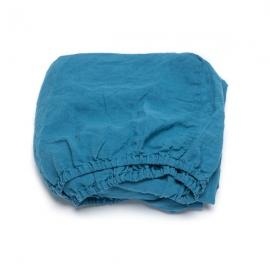 Sea Blue Leinen Bettlaken mit Gummizug Stone Washed