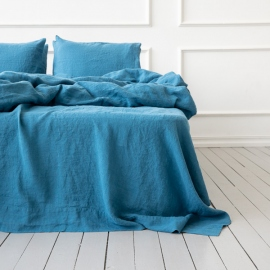Sea Blue Leinen Bettlaken Stone Washed