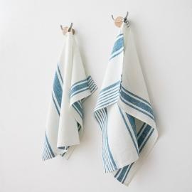 Set 2 Marine Blue Leinen Handtücher und Gästehandtücher Tuscany