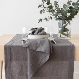 Stonewashed Steel Grey Leinen Tischläufer