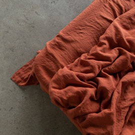 Vorgewaschenes Brick Leinen-Bettlaken