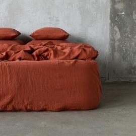 Brick Leinen Bettlaken mit Gummizug Stone Washed