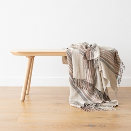 Natural Black Stripe Leinen Decke Paolo