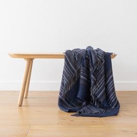 Indigo Stripe Leinen Decke Paolo