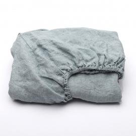 Stone Blau Leinen Bettlaken mit Gummizug Stone Washed Rhomb