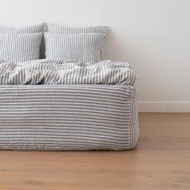 Indigo Leinen Bettlaken mit Gummizug Ticking Stripe