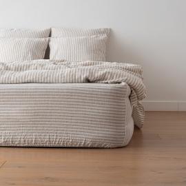Natural Leinen Bettlaken mit Gummizug Ticking Stripe