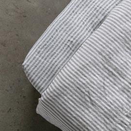 Graphite Leinen Bettlaken mit Gummizug Ticking Stripe