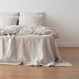 Natural Bettlaken Leinen Ticking Stripe