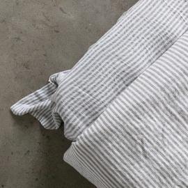 Graphite Bettlaken Leinen Ticking Stripe