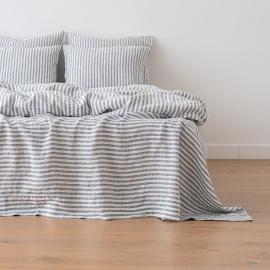 Indigo Bettlaken Leinen Ticking Stripe