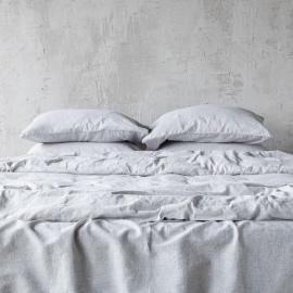 Graphite Kissenbezug Leinen Pinstripe Washed