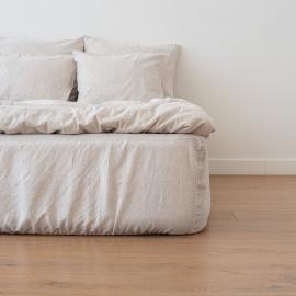 Natural Bettlaken Mit Gummizug Aus Leinen Pinstripe Washed