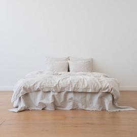 Natural Bettlaken Leinen Pinstripe Washed