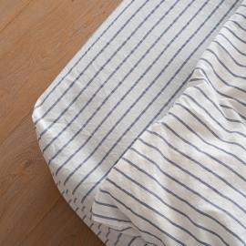 Indigo Bettlaken Mit Gummizug Aus Leinen Stripe Washed
