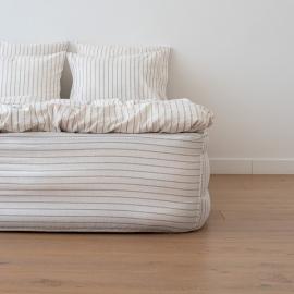 Natural Bettlaken Mit Gummizug Aus Leinen Stripe Washed