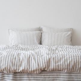 Indigo Bettset Leinen Stripe Washed