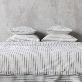 Graphite Bettset Leinen Stripe Washed