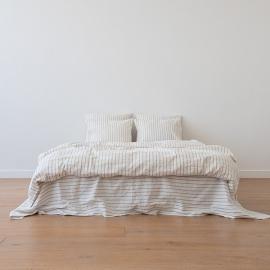 Natural Bettset Leinen Stripe Washed