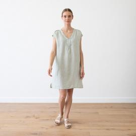 Blue Melange Leinen Kleid Emily