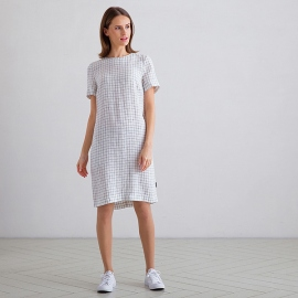 Off White Navy Check Leinen Kleid Isabella