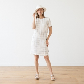 Off White Navy Window Pane Leinen Kleid Isabella