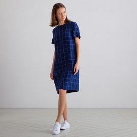 Sky Blue Pinstripe Leinen Kleid Layla
