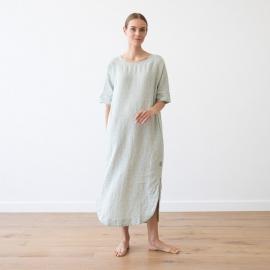 Moss Green Melange Leinen Kleid Nora