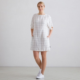 White Navy Window Pane Tunika Kleid Leinen Bianca