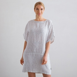 White Navy Check Tunika Kleid Leinen Bianca