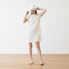 White Navy Window Pane Leinen Kleid Alice